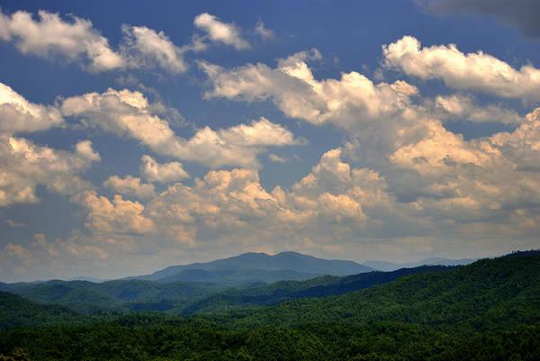 Smoky Peaks And Sky Poster