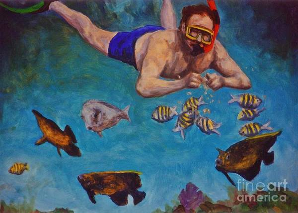 Snorkeling And Feeding The Fish Poster