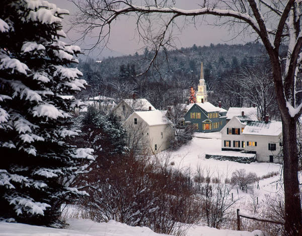Snow Covered New England Winter Evening Poster