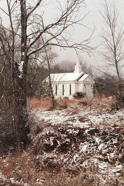 Snowy Chapel In The Wildwood Poster