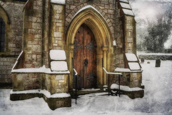 Snowy Church Door Poster
