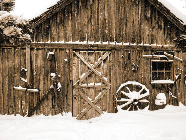 Snowy Old Barn Poster