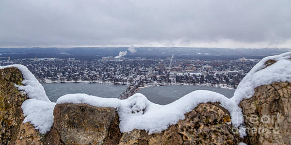 Poster featuring the photograph Snowy View From Garvin Heights Winona by Kari Yearous