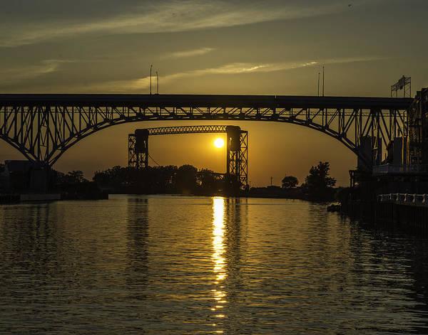 Solstice Sun Through Two Bridges Poster