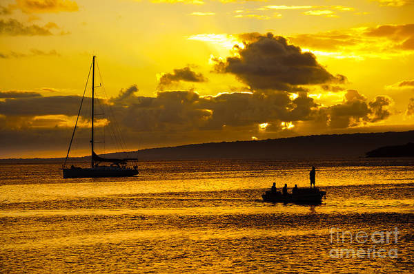 South Sea Sunset - Ferry And Yacht At Port Vila - Vanuatu - South Pacific.  Poster