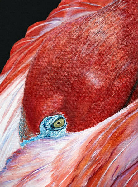 Poster featuring the painting Southern Comfort Flamingo by Donna Proctor