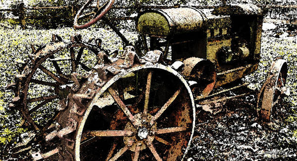 Speckled Antique Tractor Poster