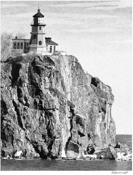 Poster featuring the drawing Split Rock Lighthouse by Rob Christensen