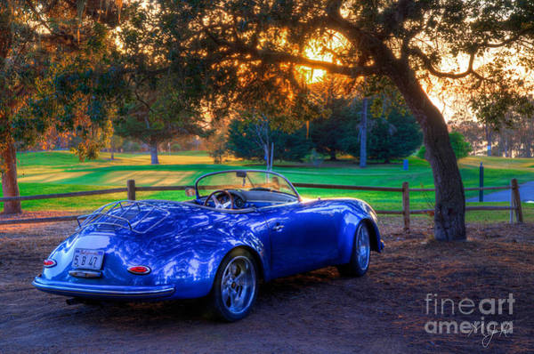 Sports Car Golf Course Sunset Poster