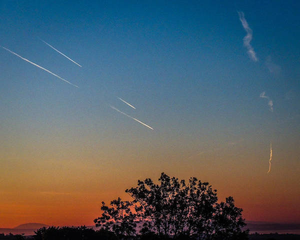 Squadron Of Jet Trails Over Ireland Poster
