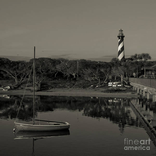 St. Augustine Lighthouse Beach Early Morning Monochrome Poster