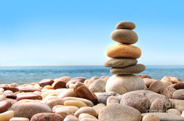 Stack Of Pebble Stones On White Poster