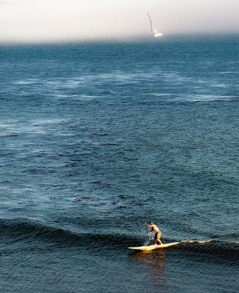 Stand-up Paddling At Sunset In Santa Poster