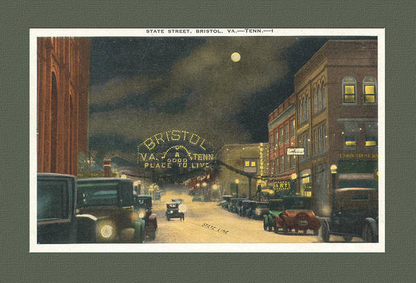 State Street Bristol Va Tn At Night Poster