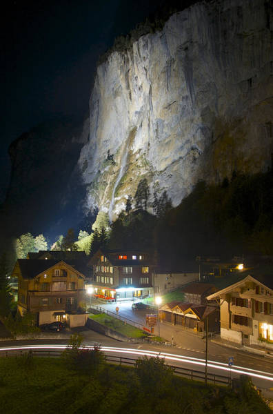 Staubbach Falls At Night In Lauterbrunnen Switzerland Poster