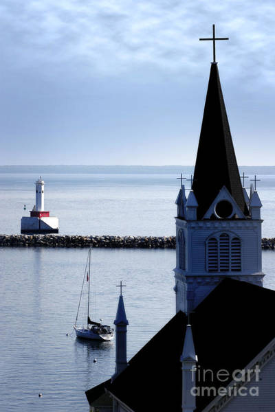 Steeple On Lake Huron Poster