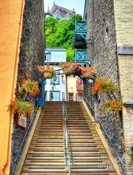 Poster featuring the photograph Steps Of Old Quebec by Mel Steinhauer