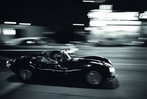 Steve Mcqueen Jaguar Xk-ss On Sunset Blvd Poster