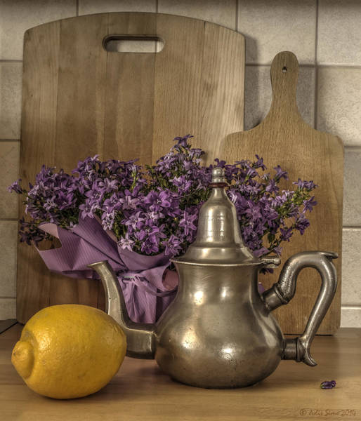 Still Life With Purple Flowers And Citron Poster