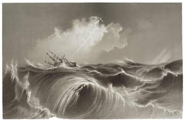 Storm At Sea Engraving Poster