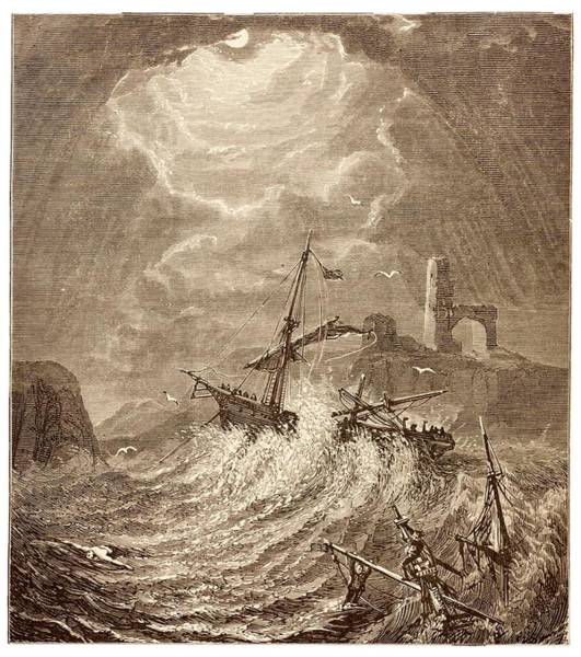Storm At Sea Off The Cornish Coast Poster