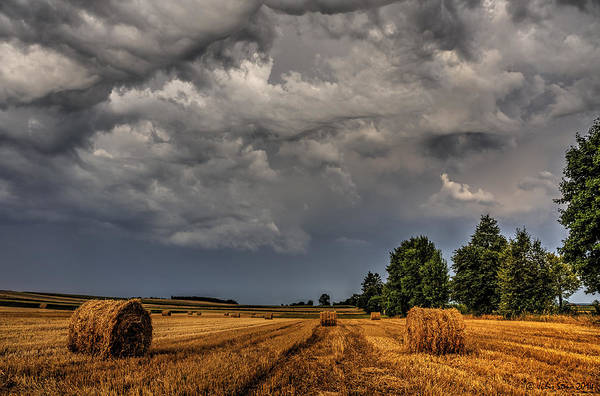 Storm Clouds Over Harvested Field In Poland 2 Poster