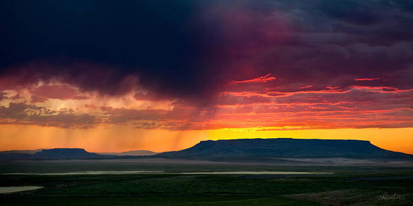 Storm Clouds Over Square Butte Poster