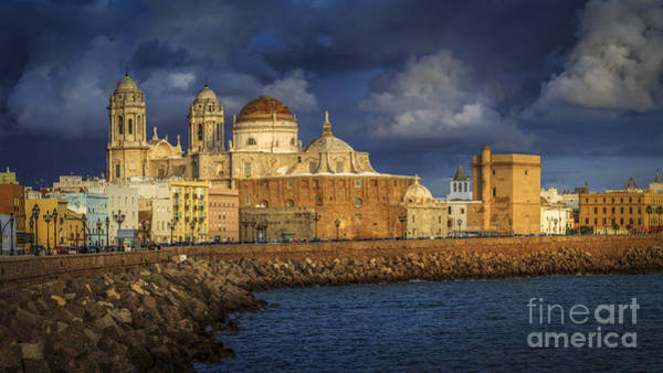 Stormy Skies Over The Cathedral Cadiz Spain Poster