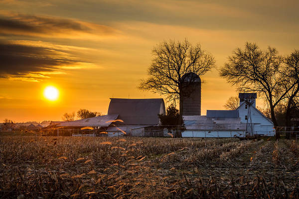 Sun Rise Over The Farm Poster