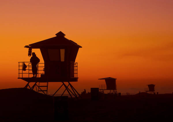 Sun Sets On Huntington Beach Poster