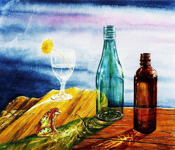 Sunlit Bottles Poster