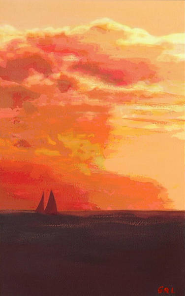 Poster featuring the painting Sunrise And Sails Emerald Isle North Carolina by G Linsenmayer