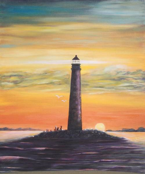 Sunrise At Sand Island Lighthouse Poster