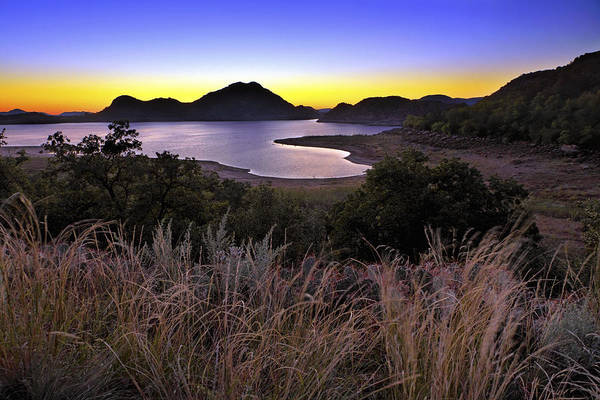 Sunrise Behind The Quartz Mountains - Oklahoma - Lake Altus Poster