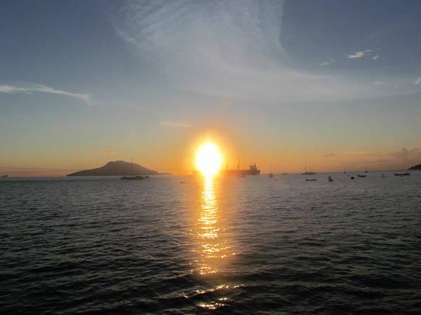 Sunrise Over Ship Poster