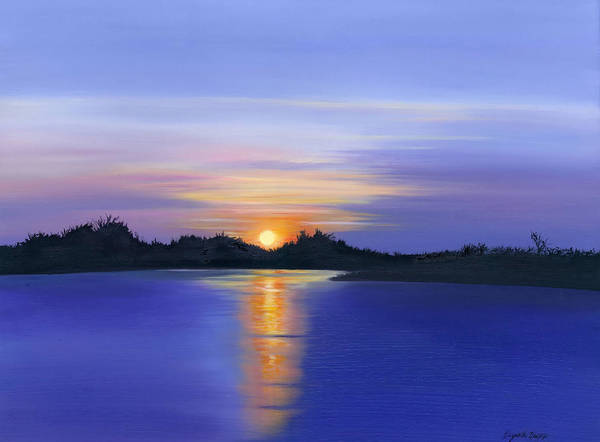 Sunset Across The River Poster