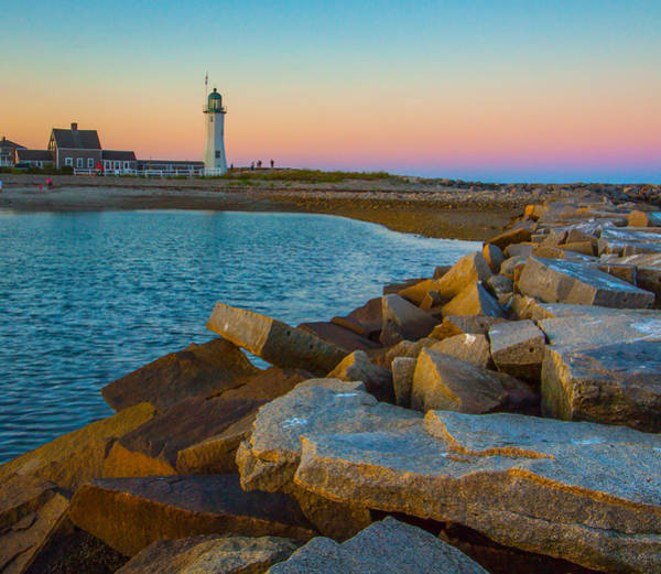 Sunset At Old Scituate Lighthouse Poster