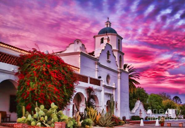 Sunset Mission San Luis Rey De Francia By Diana Sainz Poster