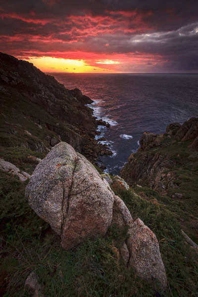 Sunset On Cape Prior Galicia Spain Poster