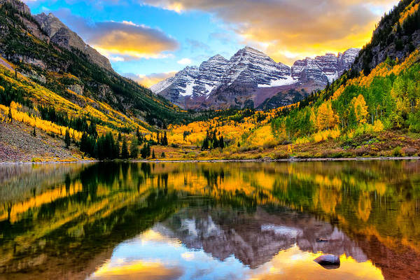 Sunset On Maroon Bells Poster