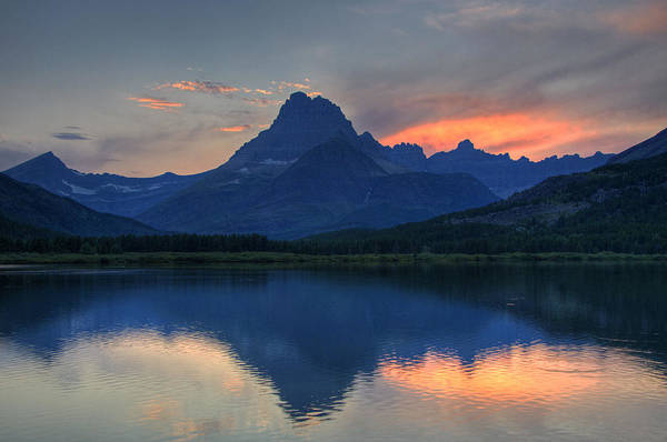 Sunset On Swiftcurrent Lake Poster