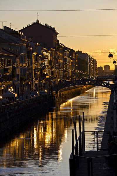 Sunset On The Navigli In Milan Poster