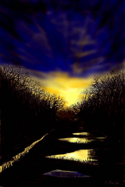 Sunset Over Disused Railway Tracks Poster