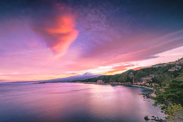 Poster featuring the photograph Sunset Over Giardini Naxos by Mirko Chessari