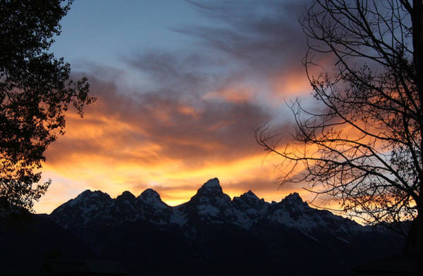 Sunset Over The Tetons Poster