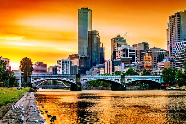 Sunset Over The Yarra Poster