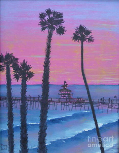 Poster featuring the painting Sunset Pier by Mary Scott