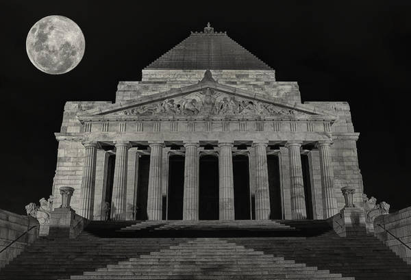 Super Moon Behind Shrine Of Remembrance  Poster