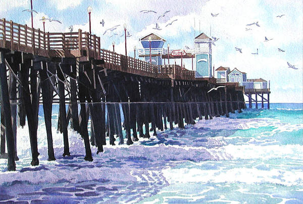 Surf View Oceanside Pier California Poster