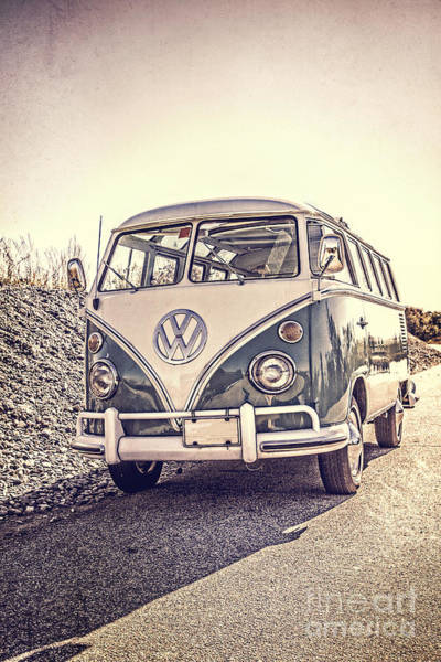 Surfer's Vintage Vw Samba Bus At The Beach Poster